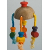 Coconut Hanging Toy With Colourful Blocks And Rope